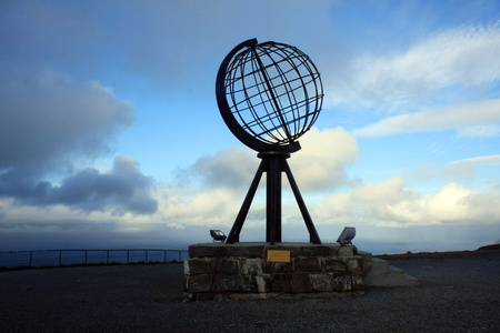 The globe at Nordkapp, Norway Stock Photo