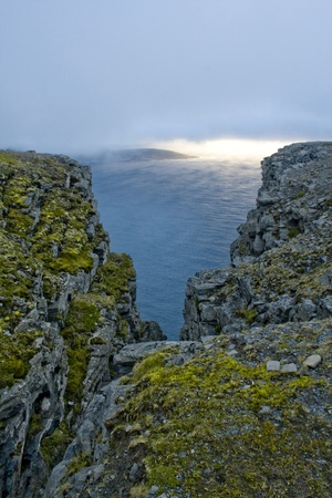 The Famous North Cape in Norway at midnight  nordkapp Stock Photo - 12539890