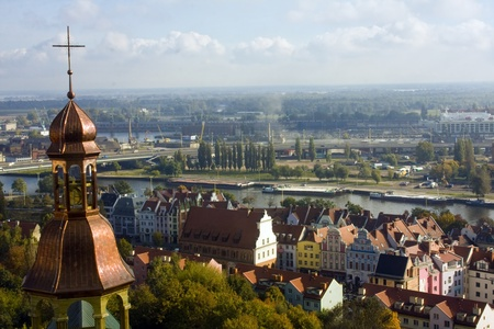 Aerial view of the Szczecin city, Poland  View from the church s tower Stock Photo