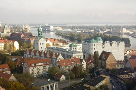 Aerial view of the Szczecin city, Poland  View from the church s