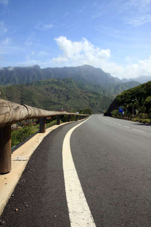 vallehermoso: an amazing landscape with a road in the La Gomera, Canary islands, Spain