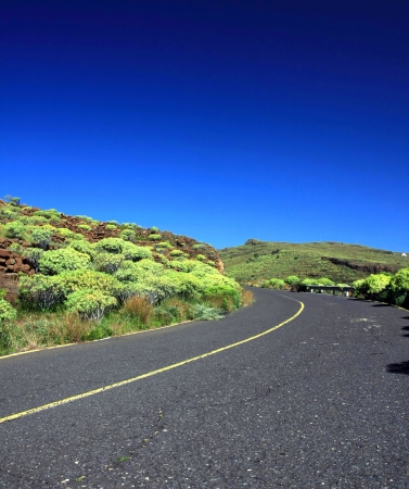 an amazing landscape with a road in the La Gomera, Canary islands, Spain Stock Photo - 13929412