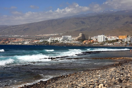 View aerial the beach and buildings of Las Americas, Tenerife in the Spanish Canary Islands photo
