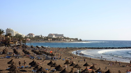 vulcano: View aerial the beach and buildings of Las Americas, Tenerife in the Spanish Canary Islands Stock Photo