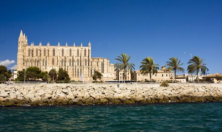 View from the sea on Santa Maria Cathedral, Palma de Mallorca, Spain