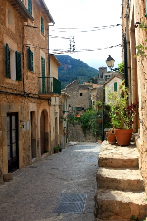 wood blinds: traditional Valldemosa Majorca village streets from Balearic Spain Stock Photo