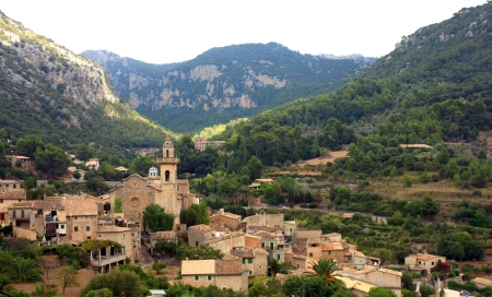 spanish village: Valldemossa view, mallorca,spain Stock Photo