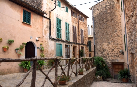 traditional Valldemosa Majorca village streets from Balearic Spain Banco de Imagens