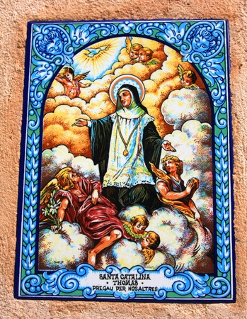 thier: typical tablet from spain with the picture of thier Saint, Majorca, Spain
