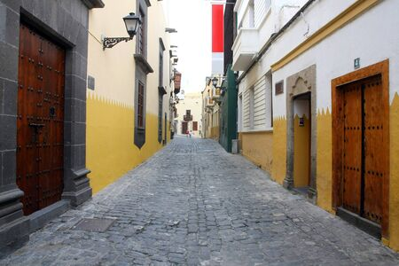 Columbus House  Case de Colon  in Las Palmas de Gran Canaria with typical acient Canarian street, Spain