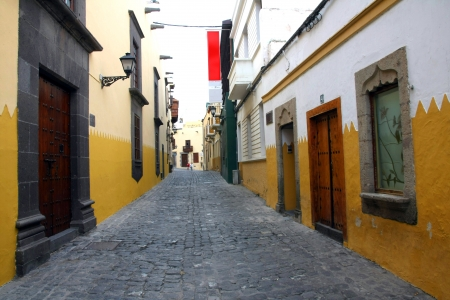 Columbus House  Case de Colon  in Las Palmas de Gran Canaria with typical acient Canarian street, Spain photo
