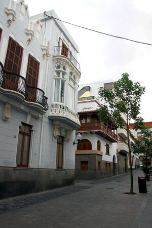 Las Palmas de Gran Canaria with typica Canarian street before chrsitmas, Spain photo