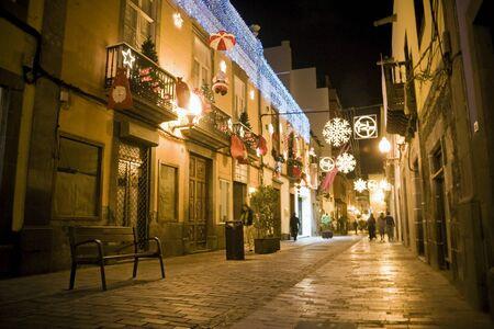 Las Palmas de Gran Canaria with typica Canarian street before chrsitmas, Spain