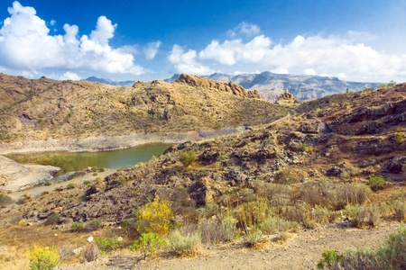 A beautiful mountain scape panorama in Gran Canaria island, Spain photo