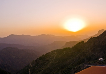 The dreamy and wild mountains before sunset of Gran Canaria in Spain  Stock Photo - 14876128