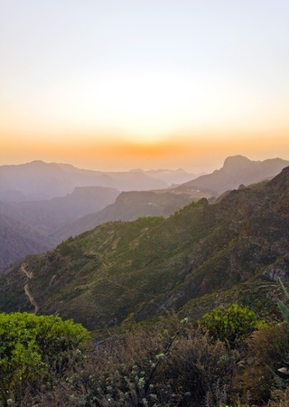 The dreamy and wild mountains before sunset of Gran Canaria in Spain Stock Photo - 14876160