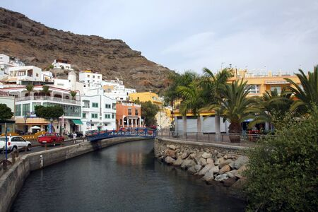 the colorful street in Puerto de Mogan, Gran Canaria Island, Spain
