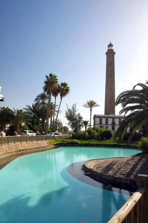 canaria: the big lighthouse in Maspalomas ,Gran Canaria in Spain Stock Photo