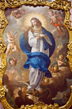 the blessed: Mary su Cloud con putti