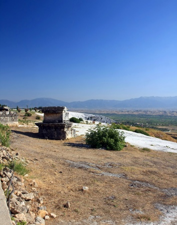 hierapolis: The ruins of the ancient city of Hierapolis, Pamukkale, Turkey Stock Photo