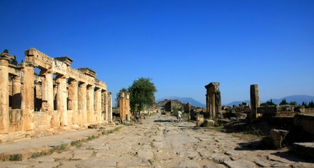 The ruins of the ancient city of Hierapolis, Pamukkale, Turkey photo