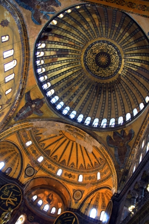 The Hagia Sophia  also called Hagia Sofia or Ayasofya  ornamental ceiling, Byzantine architecture, famous landmark and world wonder in Istanbul, Turkey Stock Photo - 15270765