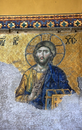 Mosaic of Jesus Christ found in the old church of Hagia Sophia in Istanbul, Turkey