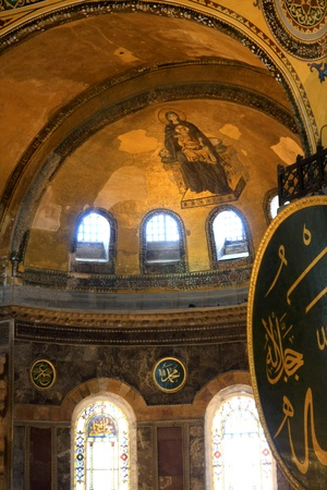 The Hagia Sophia  also called Hagia Sofia or Ayasofya  ornamental ceiling, Byzantine architecture, famous landmark and world wonder in Istanbul, Turkey Stock Photo - 15271074