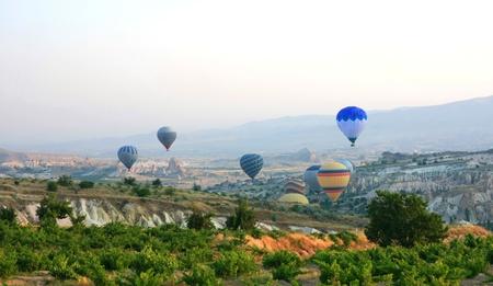 Hot air balloon flying in Cappadocia,Turkey Stock Photo - 15276313