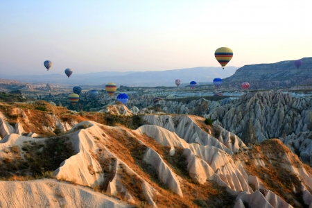 Hot air balloon flying in Cappadocia,Turkey