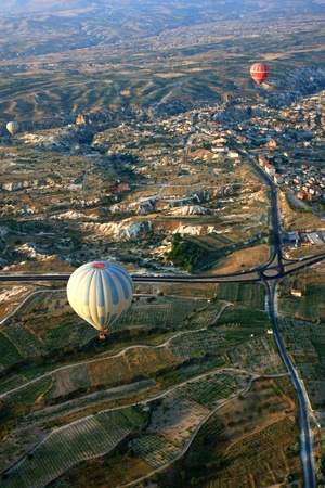 Hot air balloon flying in Cappadocia,Turkey Stock Photo - 15285499