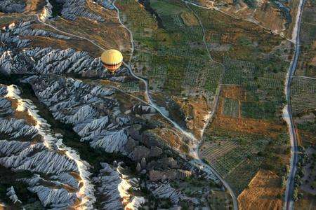 Hot air balloon flying in Cappadocia,Turkey photo