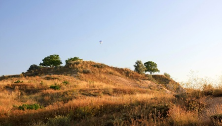 Hot air balloon flying in Cappadocia,Turkey photo