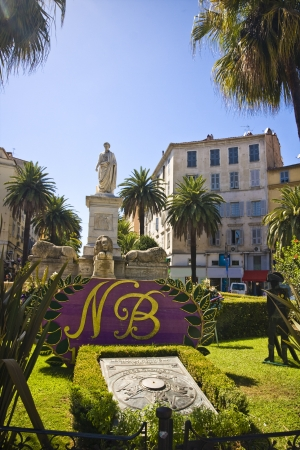 the famous house and street where the Napoleon Bonaparte was born, Ajaccio, Corsica, France Stock Photo