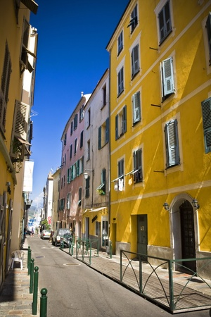 cast in place: the famous house and street where the Napoleon Bonaparte was born, Ajaccio, Corsica, France Stock Photo
