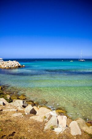 Amazin turquoise beach near St Florent in Corsica, France photo