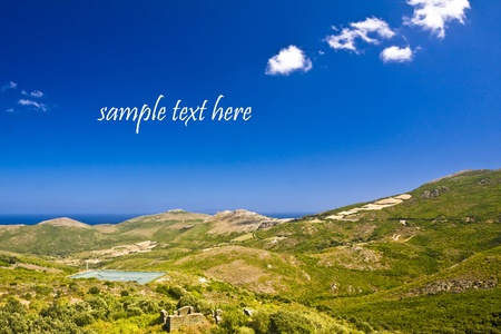 backgruond: landscape from Corsica, France with backgruond