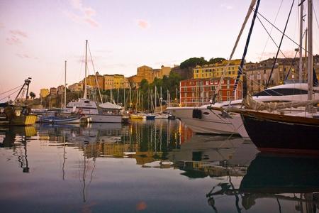 corse: Twilight in Bastia,Corse Stock Photo
