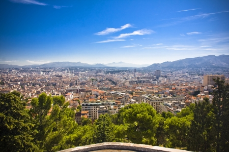 the amazing areal view on Marseille from mountain where is church od Notre Dame de la Guarde , France Stock Photo - 17500887