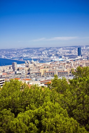 the amazing areal view on Marseille from mountain where is church od Notre Dame de la Guarde , France Stock Photo - 17501115