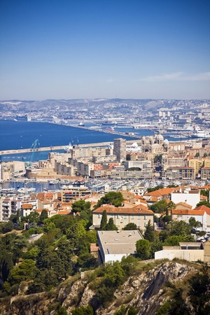 castle if: the amazing areal view on Marseille from mountain where is church od Notre Dame de la Guarde , France