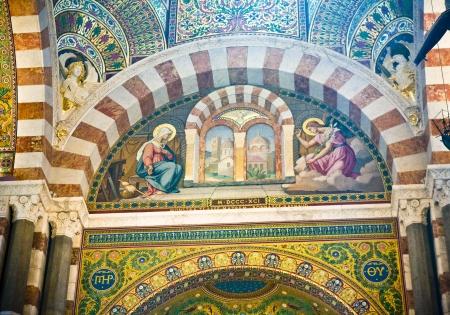 garde: Notre Dame de la Garde in Marseilles in France Stock Photo