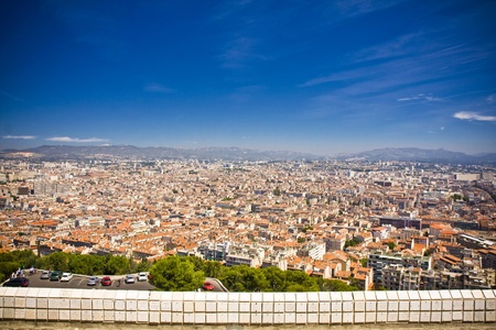 the amazing areal view on Marseille from mountain where is church od Notre Dame de la Guarde , France Stock Photo - 17462817