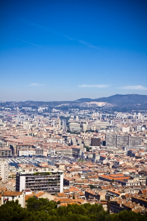 the amazing areal view on Marseille from mountain where is church od Notre Dame de la Guarde , France Stock Photo - 17462964