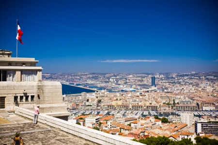 the amazing areal view on Marseille from mountain where is church od Notre Dame de la Guarde , France Stock Photo - 17465212