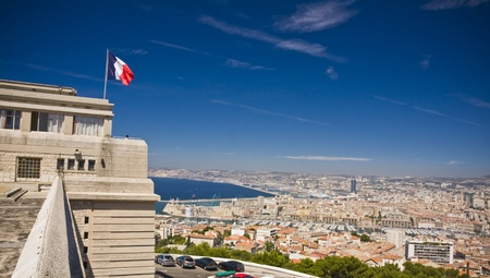 alexandre duma: the amazing areal view on Marseille from mountain where is church od Notre Dame de la Guarde , France