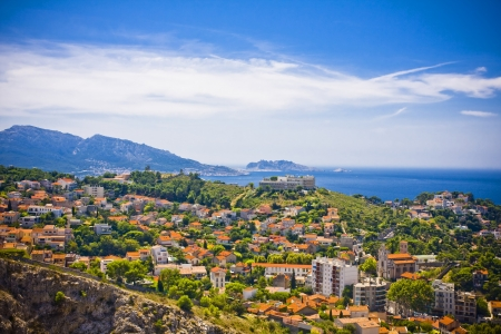 chateau d if: the amazing areal view on Marseille from mountain where is church od Notre Dame de la Guarde , France