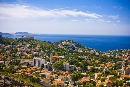 the amazing areal view on Marseille from mountain where is church od Notre Dame de la Guarde , France Stock Photo - 17462792