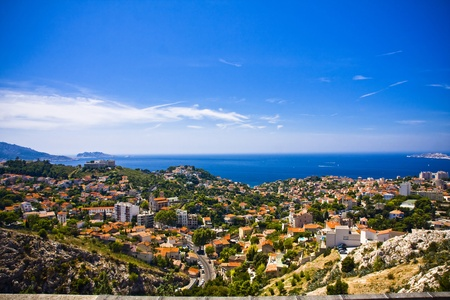 the amazing areal view on Marseille from mountain where is church od Notre Dame de la Guarde , France Stock Photo - 17462832