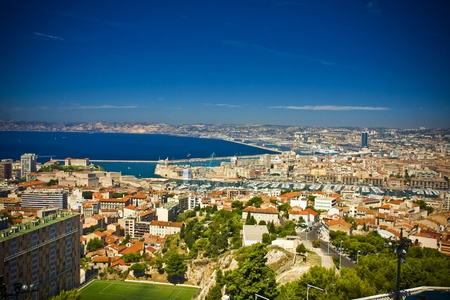 the amazing areal view on Marseille from mountain where is church od Notre Dame de la Guarde , France Stock Photo - 17462643